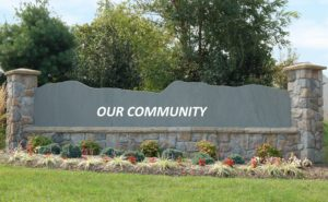Design element. A housing subdivision sign with the name removed and ready for your customization.